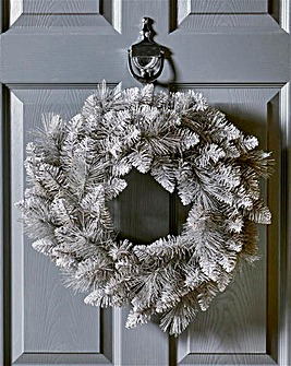 Grey Glitter Tipped 50cm Wreath