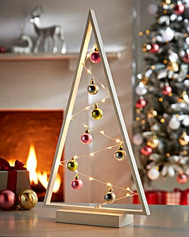 Wooden Frame Tree & Baubles with Lights