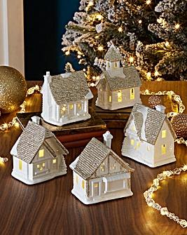 Set of 5 Porcelain Mini Houses