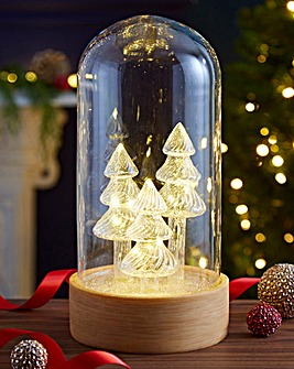 Lit Glass Cloche with Glass Trees