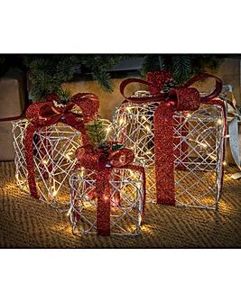 Set of 3 Lit Present Boxes
