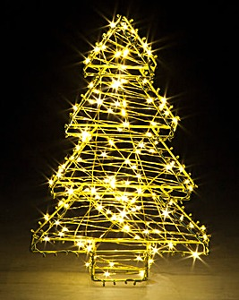 Gold Wire Tree with LEDs