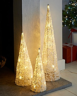 Set of 3 Lit Christmas Cones