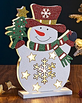 Snowman Wooden Lit Decoration