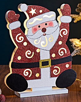 Santa Wooden Lit Decoration