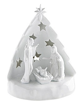 White Porcelain Lit Nativity Scene