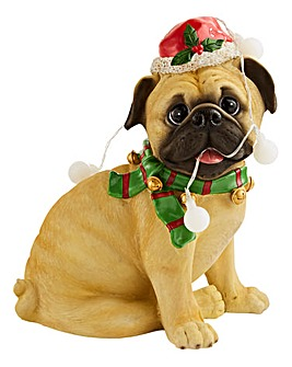 Christmas Pug with Lights