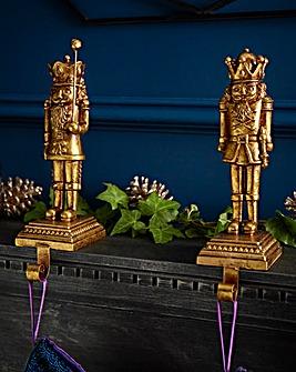 Nutcracker Gold Stocking Holder Pair