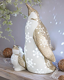 Ceramic Glitter Lit Penguins