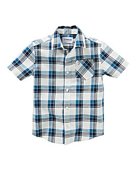Farah Navy Short Sleeve Check Shirt