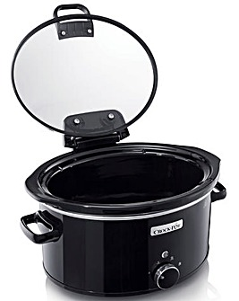 Crockpot CSC031 5.7 Litre Hinged Lid Manual Lift & Serve Black Slow Cooker