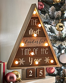 Wooden Christmas Tree Calendar