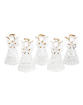 Set of 5 Glass Angels