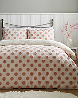 Fleece Dot Blush & White Duvet Cover Set
