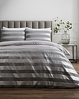 McKay Charcoal Striped Satin Duvet Cover Set