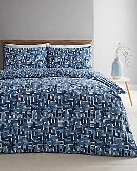 Kellan Navy Geo Cotton Rich 180 Thread Count Reversible Duvet Set