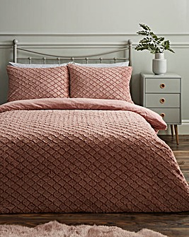 Diamond Faux Fur Blush Duvet Set