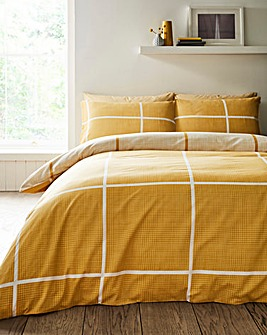 Tait Ochre Check Printed Reversible Duvet Set