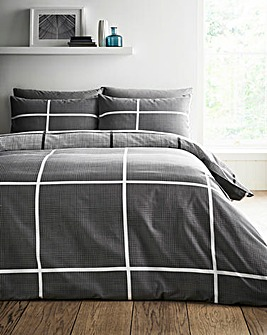 Tait Charcoal Check Printed Reversible Duvet Set