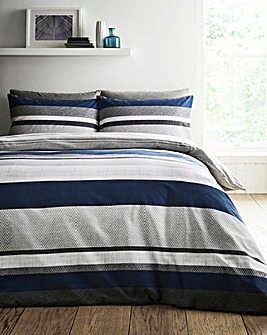 Brent Stripe Grey Navy Printed Reversible Duvet Set