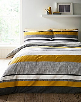 Brent Stripe Grey Ochre Printed Reversible Duvet Set