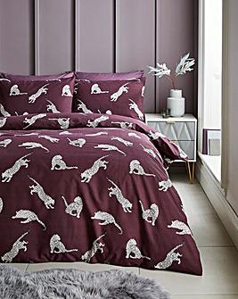 Juno Plum Leopard Printed Duvet Set