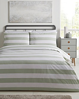 Newark Stripe Cotton Rich 180 Thread Count Duvet Set
