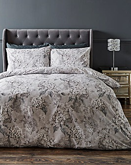 Dana Grey Floral 180 Thread Count Cotton Reversible Duvet Set