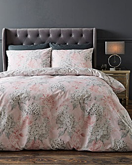 Dana Pink Floral 180 Thread Count Cotton Reversible Duvet Set