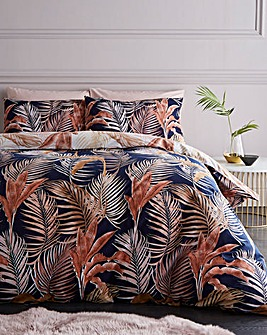 Sienna Palm Print 180 Thread Count Cotton Reversible Duvet Set