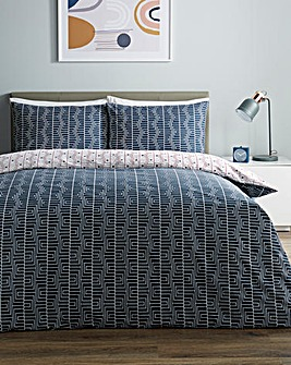 Morris Geo Printed Reversible Duvet Cover Set