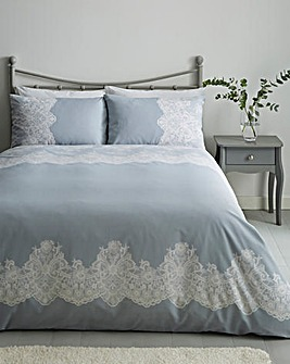 Flora Grey Printed Reversible Duvet Cover Set