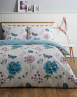 Viola Sky Blue Floral Printed Reversible Duvet Cover Set