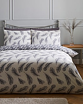 Feather Print Reversible Duvet Cover Set