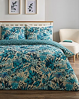 Ariel Teal Floral Duvet Cover Set