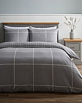 Cavill Charcoal Check Brushed Cotton Duvet Set