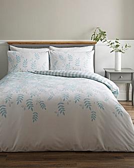 Eden Blue Floral Brushed Cotton Duvet Cover Set
