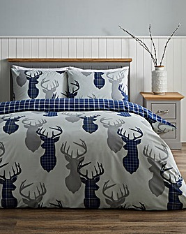 Hirsch Stags Navy Check Reversible Duvet Cover Set