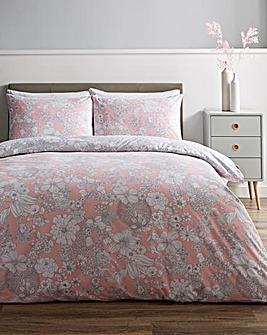 Eliza Pink Floral Reversible Duvet Cover Set