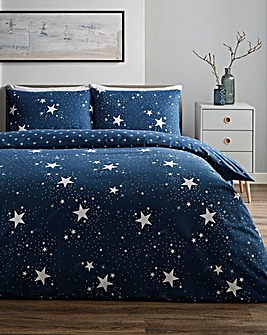 Nova Stars Navy Reversible Brushed Cotton Duvet Set