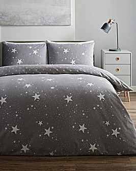 Nova Stars Grey Reversible Brushed Cotton Duvet Set