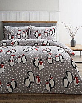 Penguin Grey Fleece Duvet Cover Set