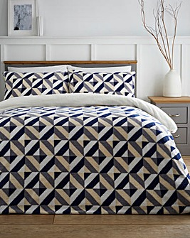 Geo Navy Fleece Duvet Cover Set