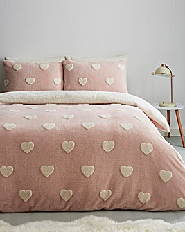 Hearts Fleece Duvet Cover Set
