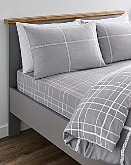 Cavill Charcoal Check Brushed Cotton Fitted Sheet
