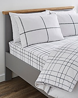 Cavill Black White Check Brushed Cotton Fitted Sheet