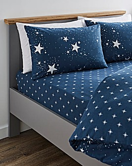 Nova Stars Navy Brushed Cotton Fitted Sheet