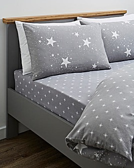 Nova Stars Grey Brushed Cotton Fitted Sheet
