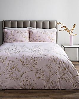 Floral Metallic Print Blush Duvet Set