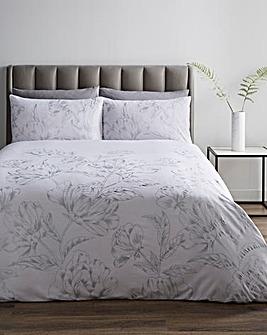 Floral Metallic Print White Duvet Cover Set